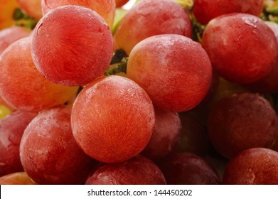 Ripe grapes with water drops