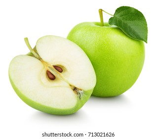 Ripe green apple fruit with apple half and green apple leaf isolated on white background. Apples and leaf with clipping path