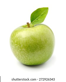Ripe green apple fruit with leaves