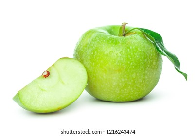 Ripe green apple isolated on a white background