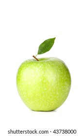 A Ripe Green Apple with water drops isolated on white background