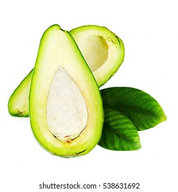 Ripe Green Avocado with Leaves Isolated on White Background. Closeup.
