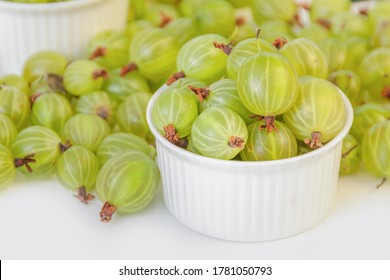 Ripe green gooseberry berry. Green gooseberry isolated on white background