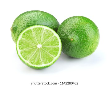 ripe green lime fruits isolated on white background