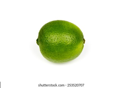 Ripe Green Medium-Sized Lime on a White Background.