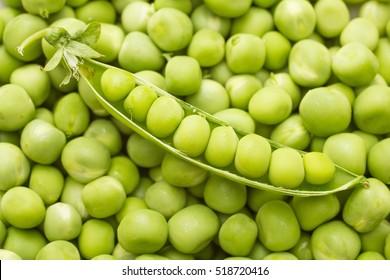 ripe green pea pod on heap peas background