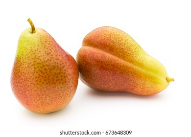 Ripe green pears isolated on white.