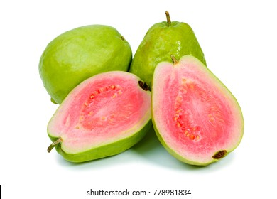 Ripe guava on white background