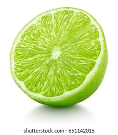 Ripe half of green lime citrus fruit isolated on white background