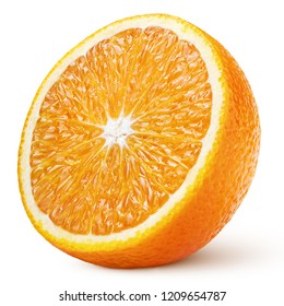 Ripe half of orange citrus fruit isolated on white background with clipping path. Full depth of field.