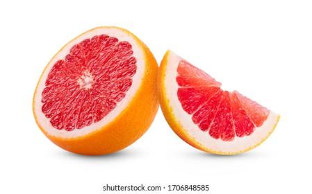 Ripe half of pink grapefruit citrus fruit isolated on white background. full depth of field