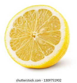 Ripe half of yellow lemon citrus fruit isolated on white background with clipping path. Full depth of field.