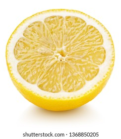 Ripe half of yellow lemon citrus fruit isolated on white background with clipping path. Full depth of field. Top view