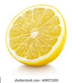 Ripe half of yellow lemon citrus fruit isolated on white background with clipping path