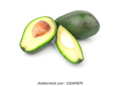 Ripe, juicy avocado isolated on white background, food ingredients