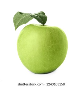 Ripe juicy green apple with leaf on white background