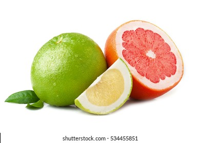 Ripe juicy green and red grapefruit with leaf isolated on white background