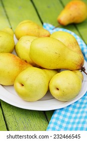 Ripe, juicy, organic pears on a plate