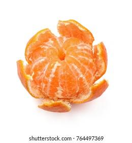 ripe juicy peeled mandarin orange. isolated on white background