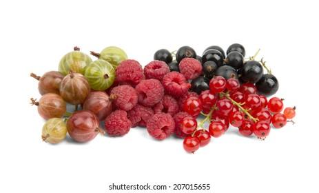 ripe juicy raspberries currants gooseberries on a white background