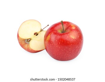 Ripe juicy red apples on white background