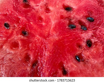 Ripe juicy watermelon, summer berry.  It insulates thirst well.  Close view