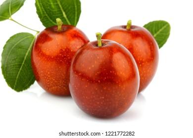 Ripe Jujube (Ziziphus) fruits closeup on white background.