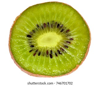 Ripe kiwi cut close-up top view on a white background.