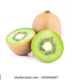 ripe kiwi fruit and half kiwi fruit isolated on white background.