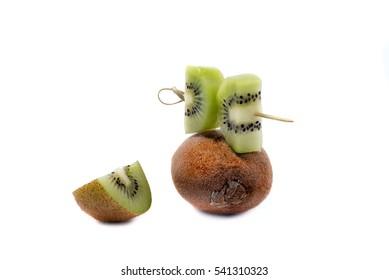 ripe kiwi fruit slices isolated on White Background