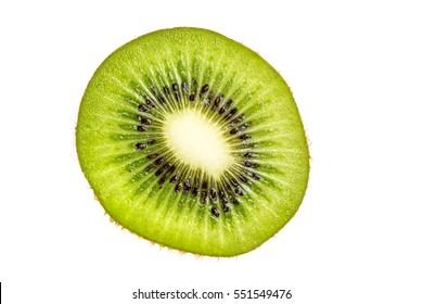 Ripe kiwi slices isolated on a white background