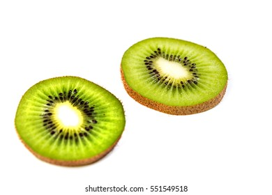 Ripe kiwi slices isolated on a white background