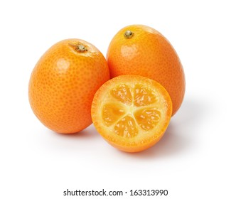 ripe kumquat fruits, isolated on white background