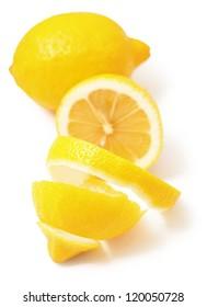 ripe lemon twist isolated on white