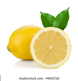 Ripe lemons with green leaves. Isolated on white background