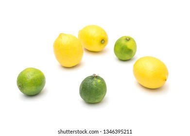 Ripe lemons and lime on a white background, citrus fruits