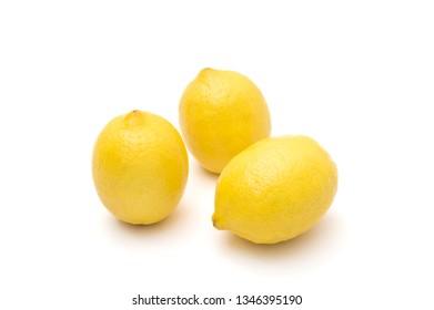 Ripe lemons on a white background, citrus fruits