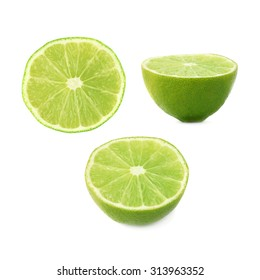 Ripe lime cut in half isolated over the white background, , set of three different foreshortenings