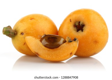 Ripe Loquat fruit or Japanese Plum isolated on white background