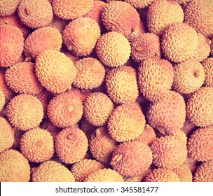 Ripe lychees. Toned filtered image in instagram style