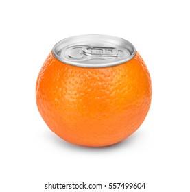 Ripe mandarin juice canned isolated on white background. Concept image.