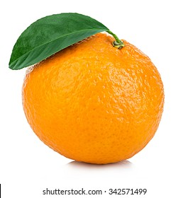Ripe mandarin with leaf close-up on a white background. Tangerine orange with leaf on a white background.