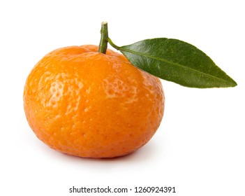 Ripe mandarin with leaves cut out.