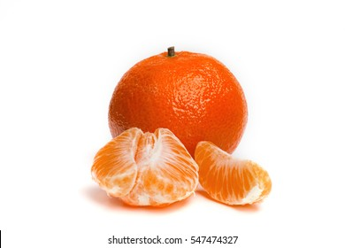 Ripe mandarin on a white background