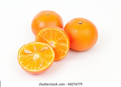 ripe mandarines on white