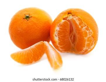 Ripe mandarins isolated on white