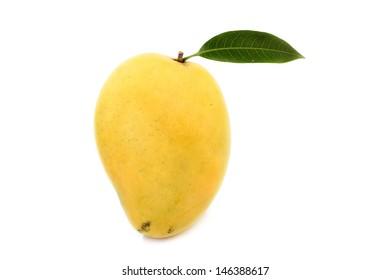 Ripe mango with green leaf