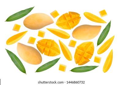 ripe mango on white background