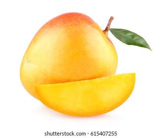 Ripe mango with a slice isolated on white background