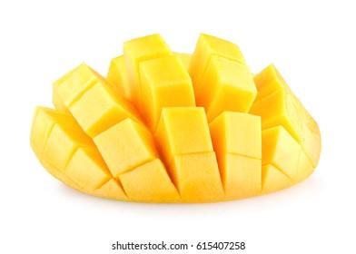 Ripe mango slice isolated on white background